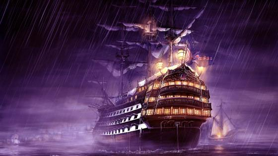 Galleon in the rain wallpaper