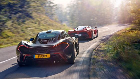 McLaren P1 and Ferrari La Ferrari Road Trip wallpaper