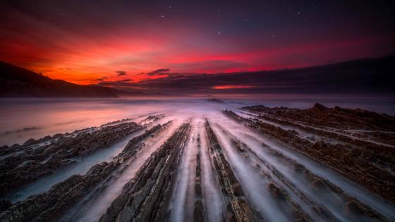 Flysch rock formation at coast of Zumaia (Spain) wallpaper