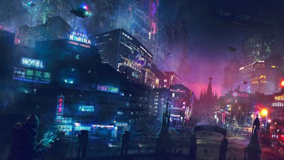 Cyberpunk future city wallpaper