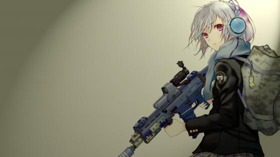 Anime girl with gun wallpaper
