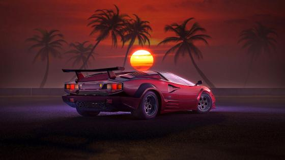 Red car at sunset wallpaper