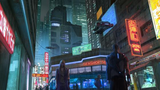 Cyberpunk city street wallpaper