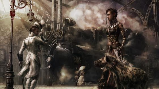 Steampunk train staition wallpaper