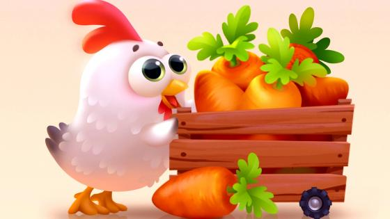Little rooster with carrot cart wallpaper