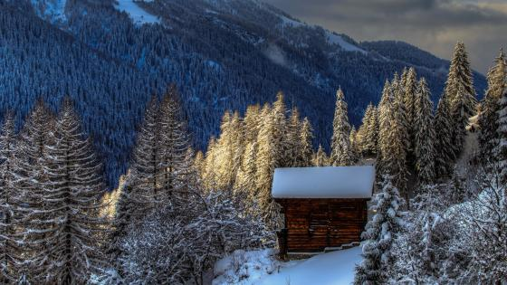 Snowy log cabin in Switzerland wallpaper