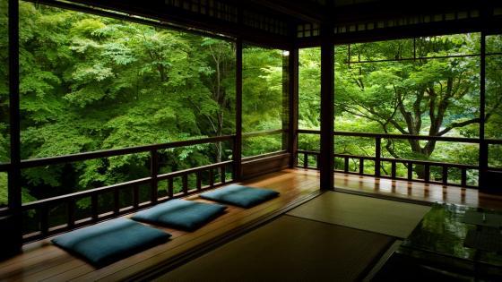 Japanese Tea Room in Kyoto wallpaper