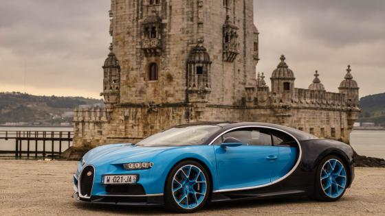 Bugatti Chiron and the Belém Tower wallpaper