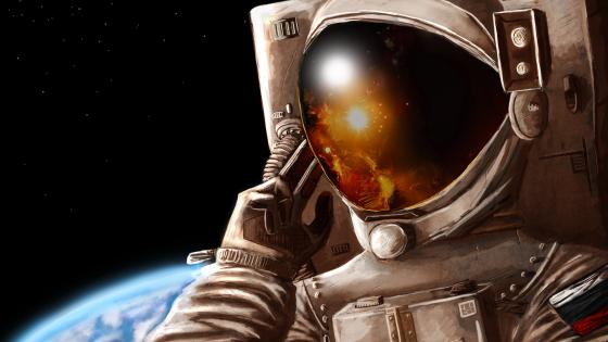 Astronaut on the space graphics wallpaper