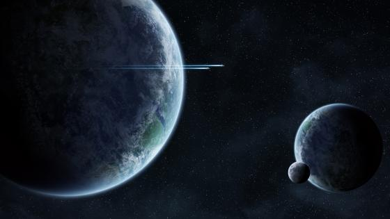 Spaceships near alien planets wallpaper