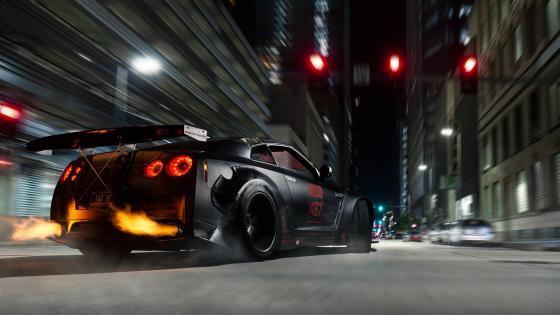 Nissan GT-R drifting wallpaper