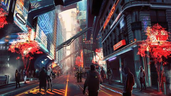 Futuristic anime city wallpaper