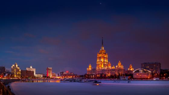 Seven Sisters on a winter night (Moscow) wallpaper