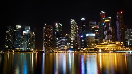 Singapore by night wallpaper