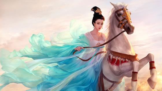 Oriental princess on a white horse wallpaper