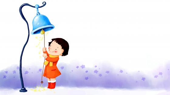 Cute child ringing bell wallpaper