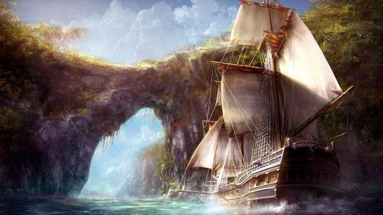 Fantasy sailing ship wallpaper