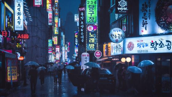 Myeong-dong at night, Seoul wallpaper
