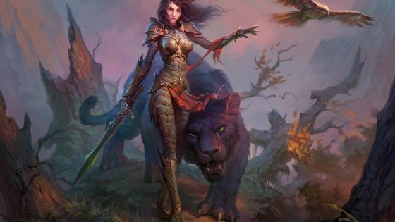 Woman warrior with a magical animal wallpaper