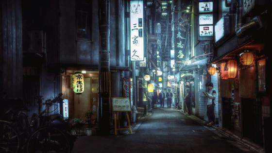 Alleyway in Tokyo wallpaper
