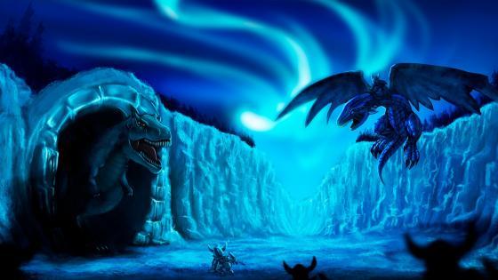 Dragon vs Dinosaur wallpaper