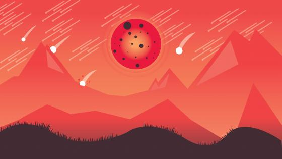 Bloody moon minimal art wallpaper