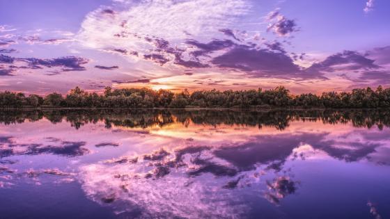 Purple sunset reflection wallpaper