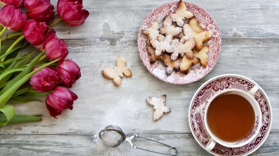 Tea with cookies wallpaper