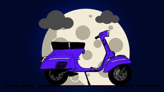 Minimalist scooter illustration wallpaper