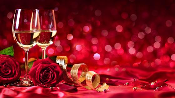 Champagne and red roses wallpaper