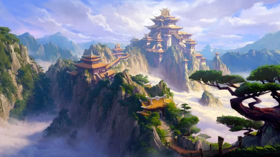 Chinese fantasy castle wallpaper