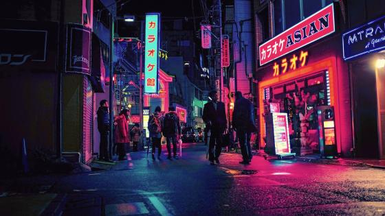 Neon lights in Japan wallpaper