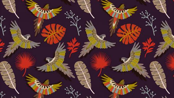Parrots leaves and feathers pattern wallpaper