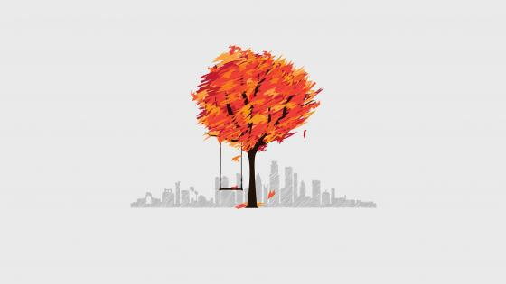 Tree swing minimal art wallpaper