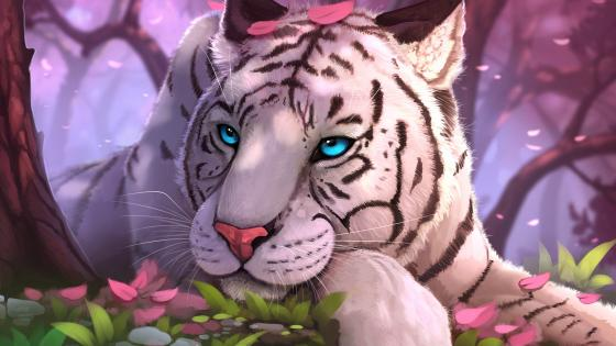 White tiger fantasy art wallpaper