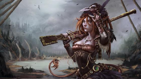 Steampunk woman warrior art wallpaper