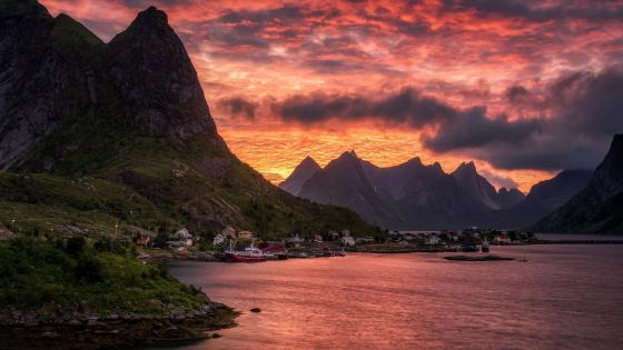 Midnightsun in Lofoten Islands wallpaper