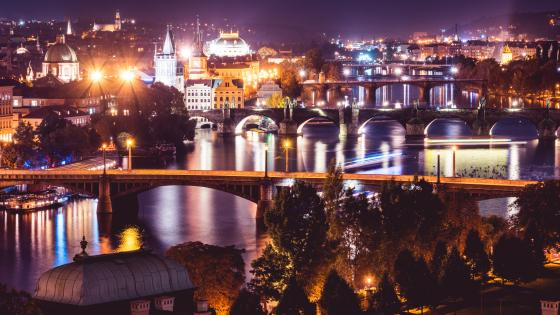 Vltava in Prague at night wallpaper