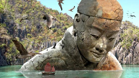 Huge monument sculpture fantasy digital illustration wallpaper