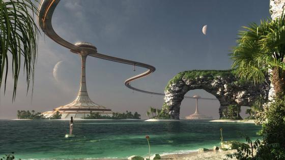 Futuristic beach wallpaper