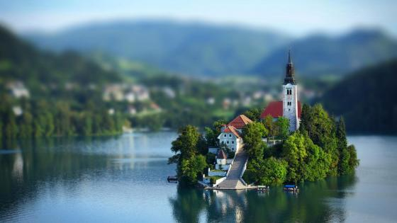 Bled Island Tilt-shift photography wallpaper