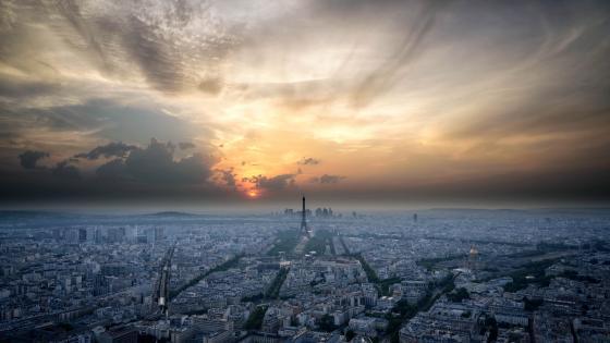 Misty Paris Skyline at sunset wallpaper
