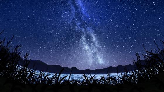 Milky way fantasy landscape wallpaper