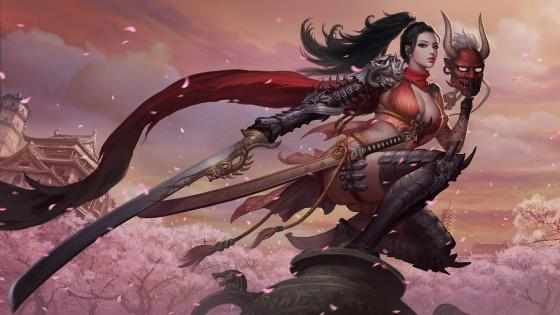 Demonic woman warrior with devil mask wallpaper