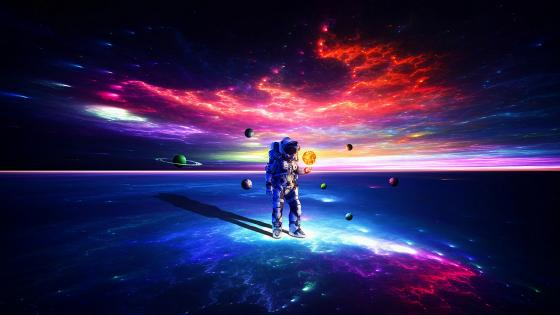Astronaut plays with planets wallpaper