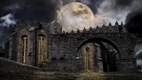 Gothic castle ruins at full mooon wallpaper