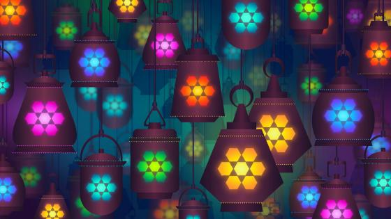 Colorful lannterns moroccan pattern wallpaper