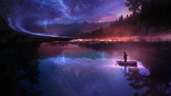 Boatman at night wallpaper