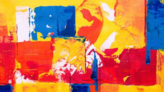 Blue orange yellow red abstract painting wallpaper
