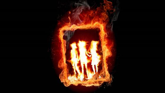 Frame in fire wallpaper